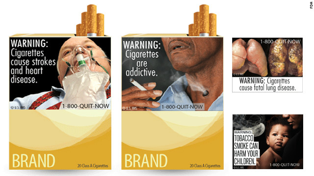 Proposed FDA warning labels for cigarette packages.