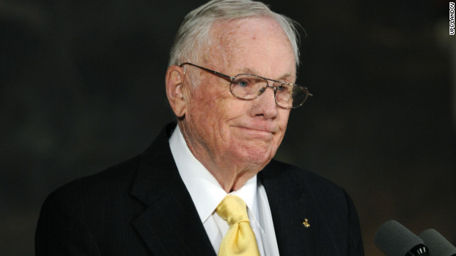 Neil Armstrong speaks during a Congressional Gold Medal Ceremony honoring astronauts John Glenn, Neil Armstrong, Michael Collins and Buzz Aldrin on Capitol Hill in Washington on November 16, 2011. UPI/Roger L. Wollenberg /LANDOV Photographers/Source: ROGER L. WOLLENBERG/UPI /Landov 