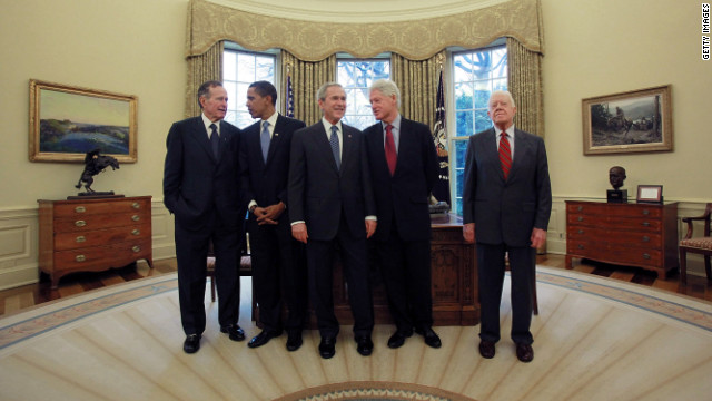 The living presidents gather in the Oval Office in January 2009, days before Barack Obama was sworn in.