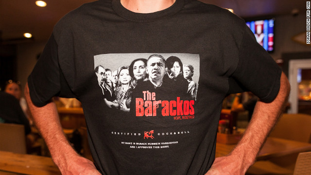 "A T-shirt bashing President Barack Obama and the Democratic Party mimics the logo of ""The Sopranos,"" a television series revolving around a fictional Mafia family."