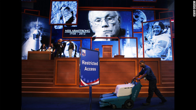 A tribute to NASA astronaut Neil Armstrong, who died Saturday, August 25, is displayed at the GOP convention as preparations continue.