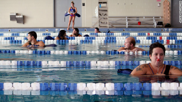 Lifeguards are stationed in every swim lane to ensure the kids' safety.