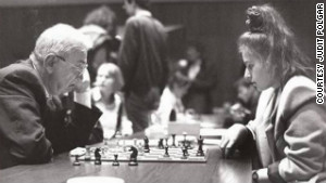 1991: Polgar plays world champion runner-up Viktor Korchnoi, who is 45 years her senior. 