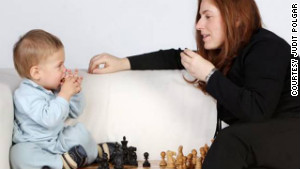 Polgar in 2005 with her son, Oliver. 