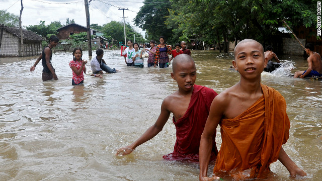 Flooding is common during Myanmar's long rainy season, which lasts from June to October.