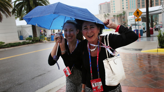 RNC attendees including delegates found different ways to weather Tropical Storm Isaac.