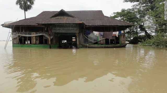 A flooded primary school in the Irrawaddy Delta in a picture taken by relief workers last week