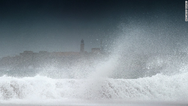 Waves batter the coast in Havana, Cuba, on Sunday after Tropical Storm Isaac passed the island.