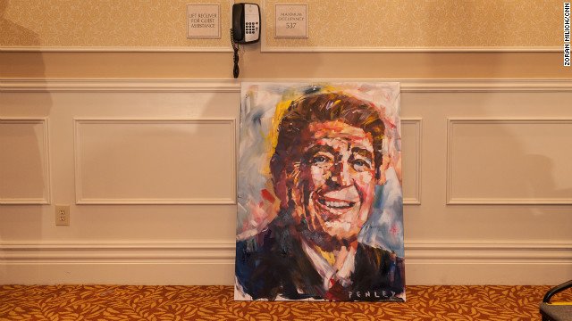 A painting of former President Ronald Reagan sits in a hallway at the Embassy Suites in Tampa, where many Republicans are staying during the convention.