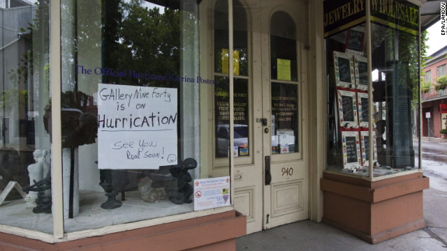 Gallery Nine Forty in New Orleans' French Quarter notifies customers it's &quot;on Hurrication.&quot;