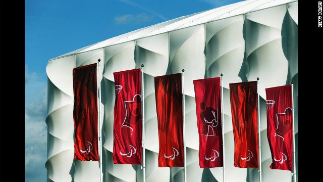 Flags fly in the Olympic Park ahead of the London 2012 Paralympic Games.