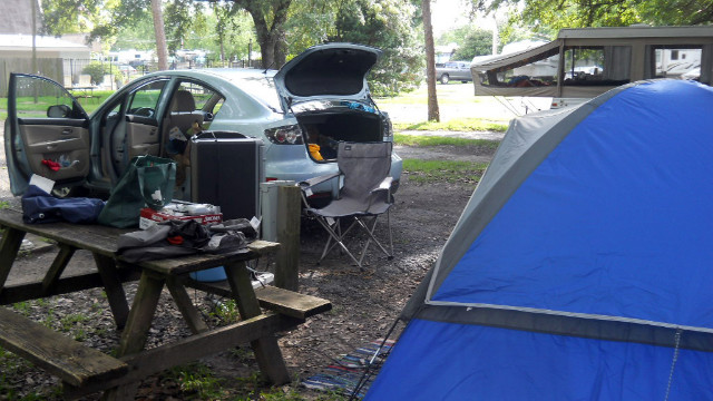 Camping on the trips was fun and kept costs down.