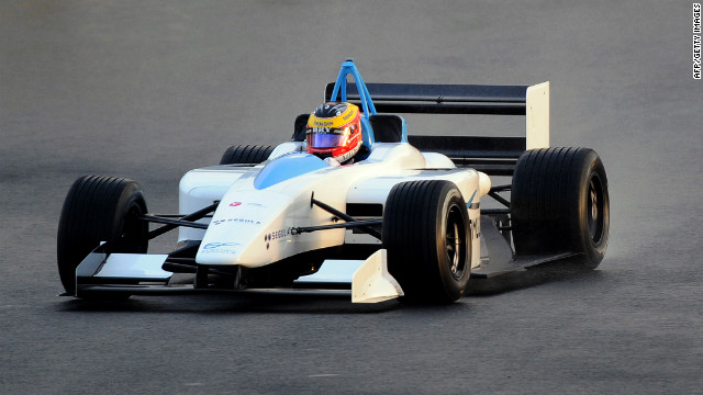 French driver Alexandre Premat drives the electrical EFO1 Formula at Le Mans circuit, western France on September 24, 2010. 