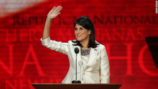 South Carolina Gov. Nikki Haley, shown here at the 2012 Republican National Convention, is a GOP star but Tom Ervin calls her