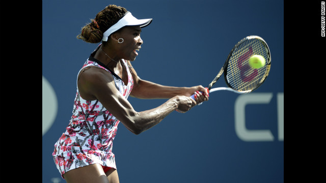 American Venus Williams returns to Bethanie Mattek-Sands of the United States.