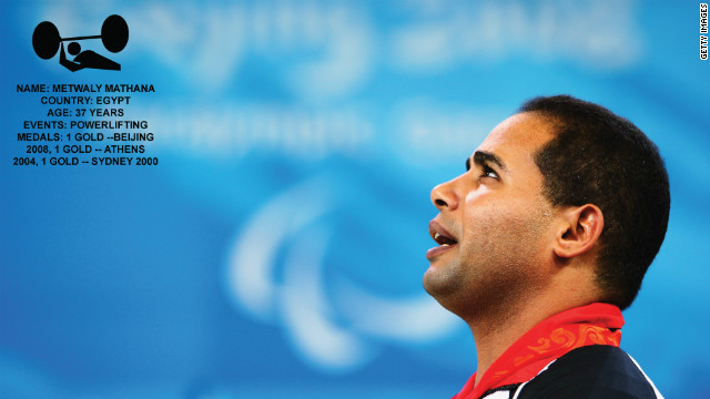 The star of Egyptian powerlifting, Metwaly Mathana started the sport at the age of 5. According to his bio with the Egyptian Paralympic committee, he had to leave his village as there was not enough steel for him to keep lifting. He won three gold medals in three consecutive Games. 