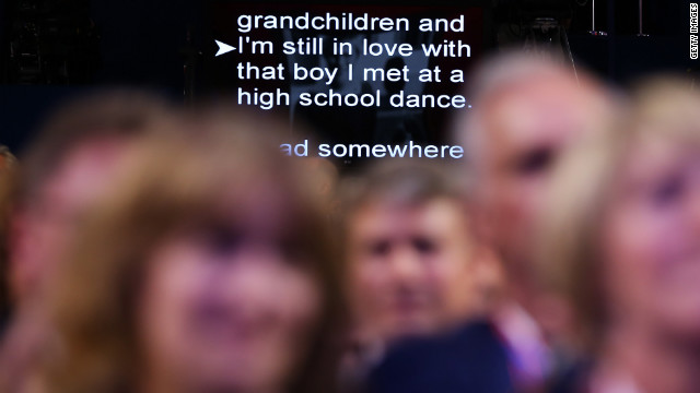 An excerpt from Ann Romney's speech is displayed on a teleprompter Tuesday. She repeatedly referred to her first date with Mitt Romney in urging Americans to trust him to fix the nation's problems.