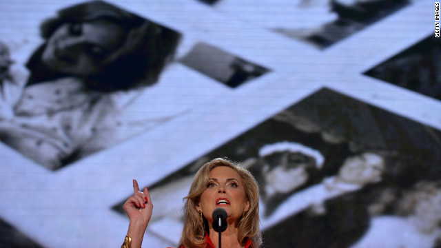 "Ann Romney addresses the crowd in the biggest political speech of her life. She concluded by declaring ""you can trust Mitt."""