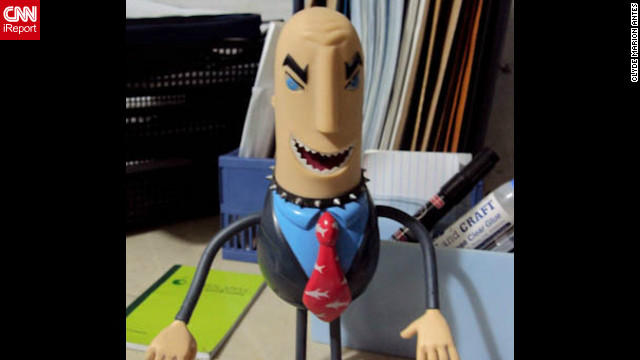 "A little plastic shark in a pinstripe suit works wonders for 22 year old Philippines college student <a href='http://ireport.cnn.com/docs/DOC-830904' target='_blank'>Clyde Antes</a>' motivational levels. ""Whenever I feel bored or tired while working, I'll just look at my toy and it makes me laugh,"" he says. ""You talkin' to me, Sharkbait?"", Antes makes the toy say. And, ""Pro bono? Never heard of him""."