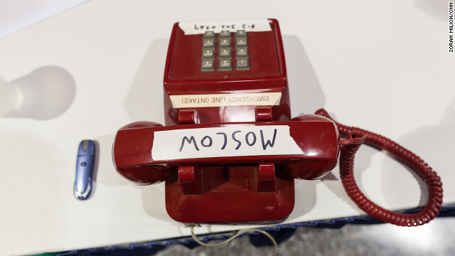 A phone labeled &quot;Moscow&quot; sits in the press center at the Republican National Convention. 