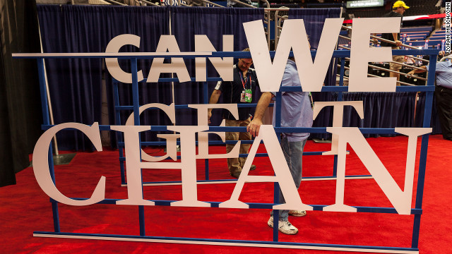 A new sign is brought in to be set up in the convention center.