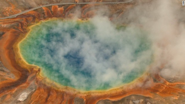 Yellowstone National Park's Grand Prismatic Spring, the park's largest hot spring, makes for a stunning photo in this aerial shot.