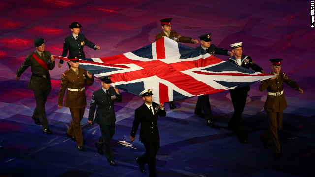 Service members from the Army, Royal Navy and Royal Air Force display the Great Britain flag.