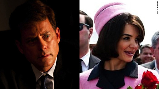 "Greg Kinnear was nominated for an Emmy for his role as John F. Kennedy in ""The Kennedys."" Katie Holmes plays Jackie Kennedy. The 2011 miniseries was met with mixed reviews. The Washington Post's Hank Stuever wrote that it ""sketches its characters with the precision of a fat Sharpie marker."""