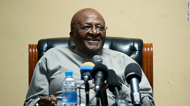Archbishop Desmond Tutu, pictured here on July 6, 2012, will not attend because he does not want to share a platform with Blair.