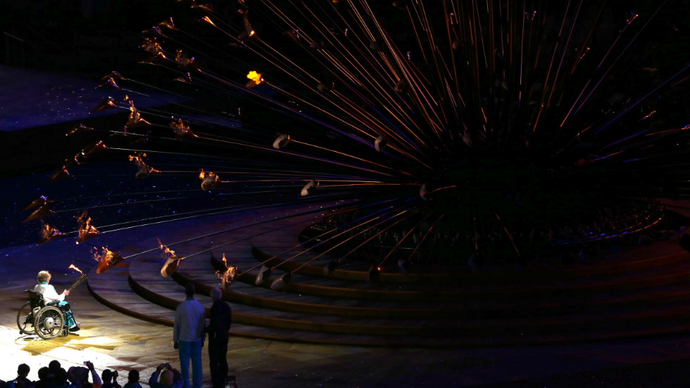 Paralympian Margaret Maughan lights the Paralympic cauldron during the opening ceremony of the London 2012 Paralympics on Wednesday, August 29.