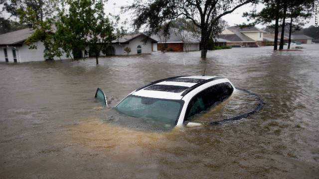 A car sits submerged in Laplace, Louisiana.