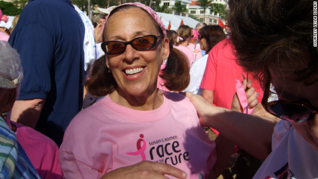 Leslie Elder participates in the 2010 Race for the Cure. She was diagnosed with cancer four separate times.