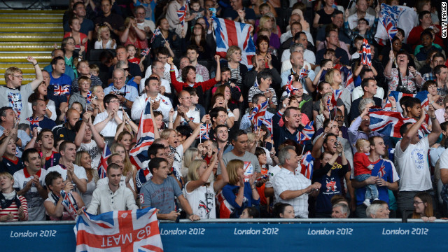 British fans cheer on Ben Quilter during judo competition Thursday.