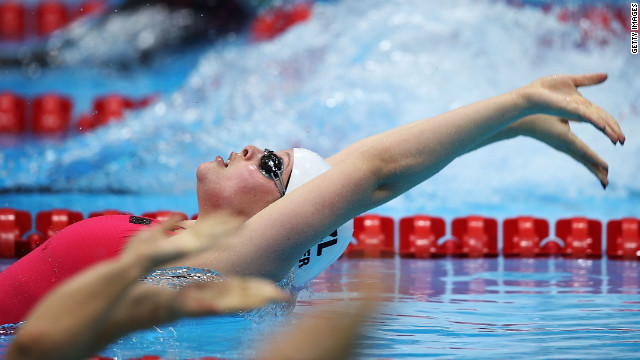 Rebecca Dubber of New Zealand competes in the women's 100-meter backstroke S7 heat 1.