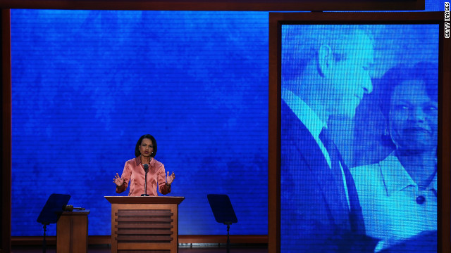 Former Secretary of State Condoleezza Rice speaks at the Tampa Bay Times Forum on Wednesday. She accused President Barack Obama of yielding the nation's leadership role in the world.