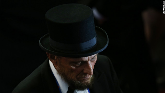 George Engelbach, dressed as President Abraham Lincoln, attends the GOP convention.
