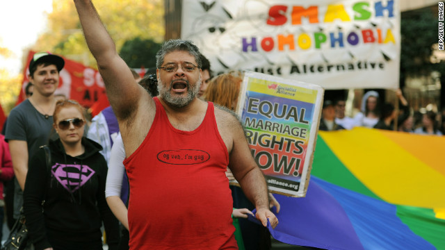 Pro-marriage equality campaigners march through the streets of Sydney, Australia on May 12, 2012.