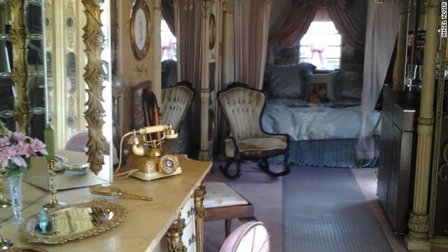 Inside the dressing room trailer created for Elizabeth Taylor to use during the filming of &quot;Cleopatra&quot; in 1963. The trailer's owner says it was damaged while on loan for the filming of &quot;Liz &amp;amp; Dick&quot; in July.