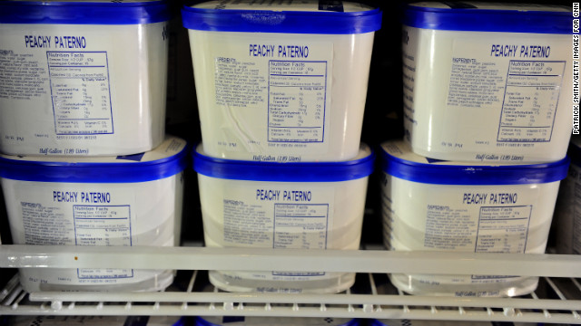 """Peachy Paterno"" ice cream sits in the freezer at the Berkey Creamery on campus. The ""Sandusky Blitz"" flavor has been removed."