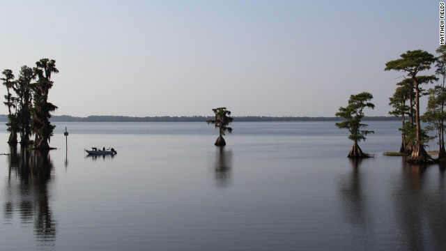 Sixteen lakes form a deep-blue chain around the west side of Winter Haven, Florida, known as the world's water skiing capital.