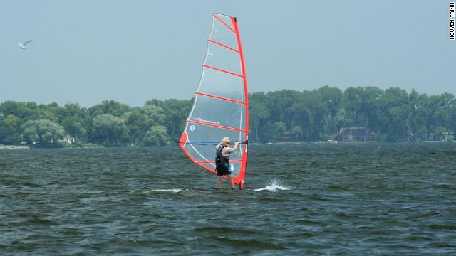 Lake Winnebago draws Wisconsin windsurfers and kite surfers.