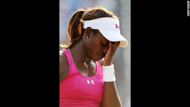 Sloane Stephens of the United States reacts during her women's singles second-round match against Tatjana Malek of Germany.