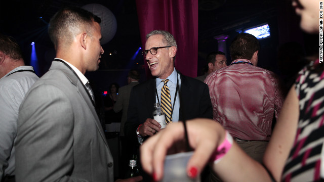 Gay rights activist Fred Karger, center, socializes at Homocon. Before Romney secured the nomination, Karger was seeking the top spot on the Republican ticket.