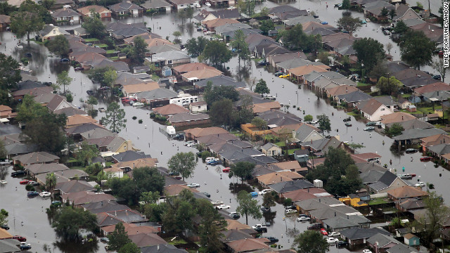 Subdivisions in LaPlace, west of U.S. 51 and south of Interstate-10 are covered in floodwaters in the aftermath of Isaac.