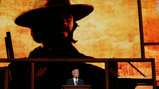 Actor Clint Eastwood speaks as a surprise guest.