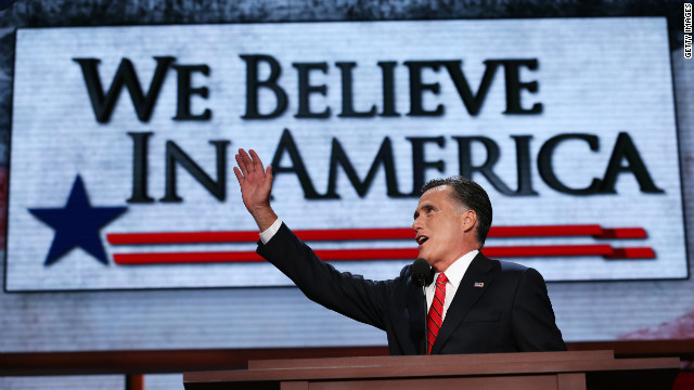 Presidential candidate Mitt Romney delivers his acceptance speech on the final day of the Republican National Convention at the Tampa Bay Times Forum on Thursday, August 30. See the best photos from the Democratic National Convention.
