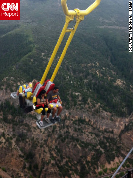 """The swing takes (you) beyond the mountain cliff into the abyss,"" writes Sandhya Verma of the<a href='http://ireport.cnn.com/docs/DOC-831739'> Giant Canyon Ride</a> in Glenwood Springs, Colorado. Verma was too scared to go on the ride herself, but her sister and her husband rode twice, once with their eyes closed and the second time with them open."