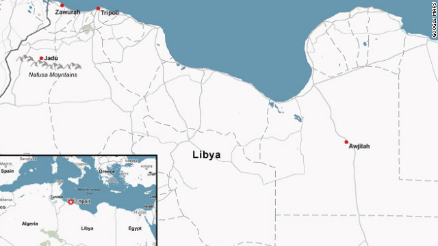 Libya's Berber population is concentrated in the Nafusa Mountains and other towns marked on the map above.