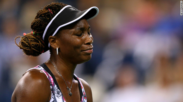 Venus Williams of the United States reacts during her women's second round match against Angelique Kerber of Germany.