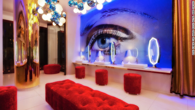The Hard Rock Hotel and Casino's Vanity Nightclub features eye-catching vanity stations as part of its 2,000 square-foot luxury ladies' room. Gold-plated faucets and a $40,000 chandelier add some shine to the porcelain palace.